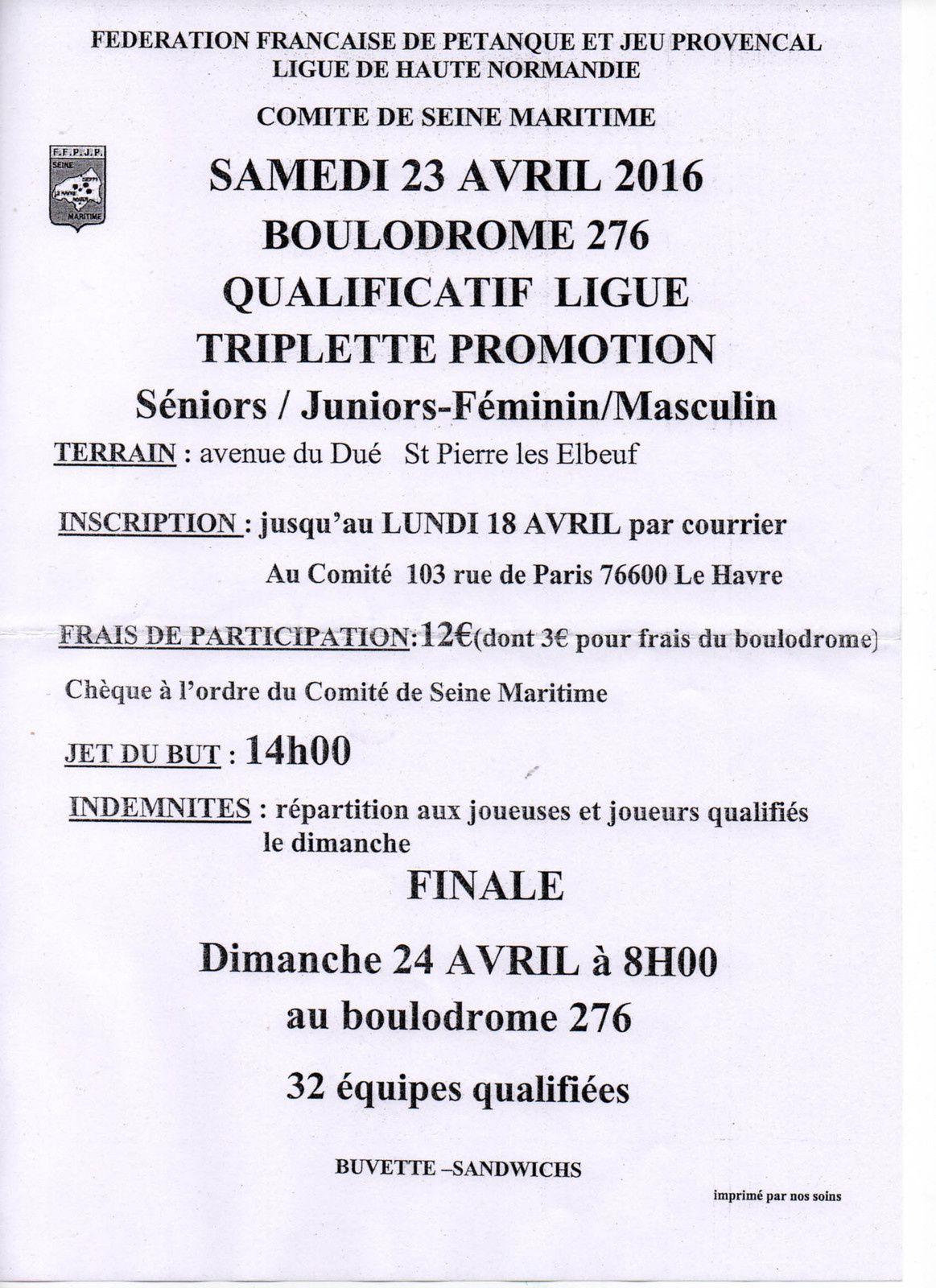2016-04-23 St Pierre Qualificatif Ligue Triplette Promotion
