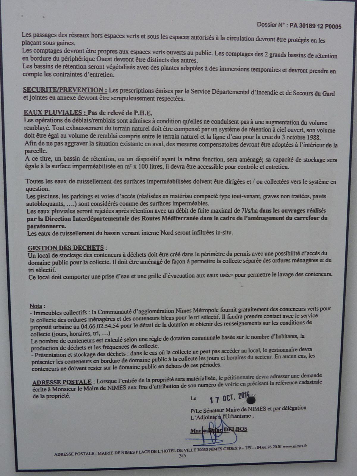 Affichage permis de construire Lotissement du Bois des Espeisses à Villeverte 30 Nimes 4