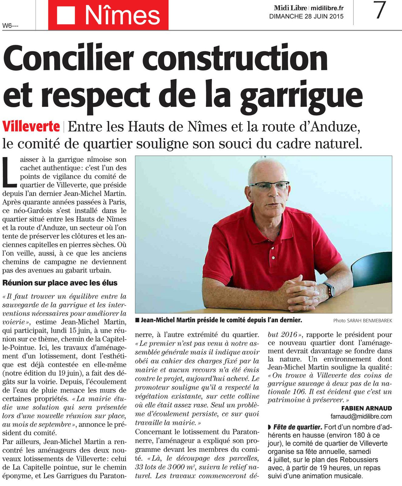 Article Midi libre sur le comité de Quartier de Villeverte