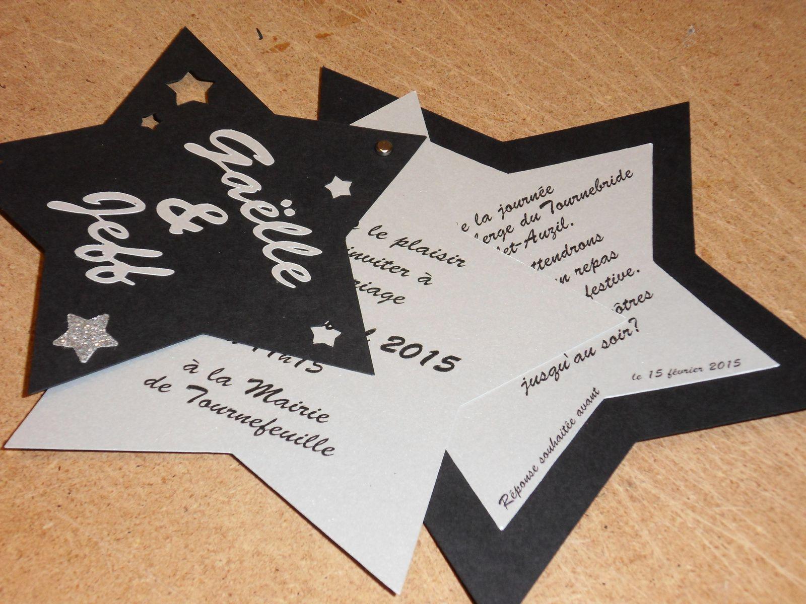 Top faire part mariage en forme d'étoile, argent et noir - Les créas  ZQ58