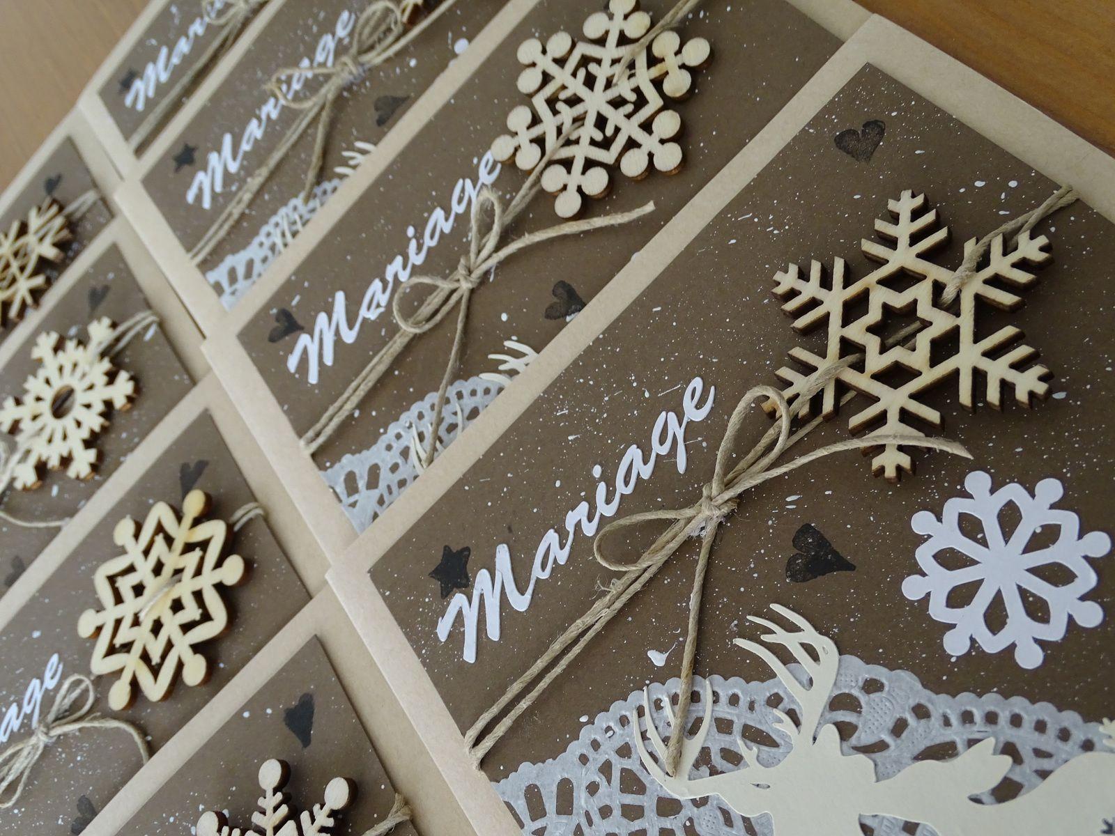 faire part de mariage th me nature hivernale les cr as. Black Bedroom Furniture Sets. Home Design Ideas