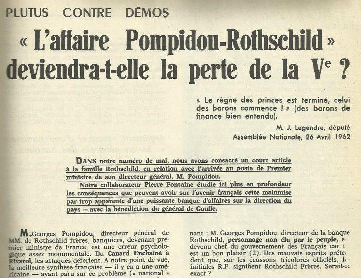 Loi Pompidou-Rothschild : Quand la France se suicida en 1973...