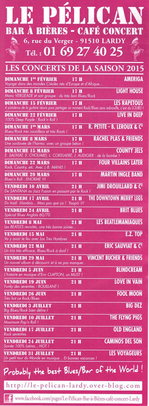 Le programme des concerts de la saison 2015 est arrivé !