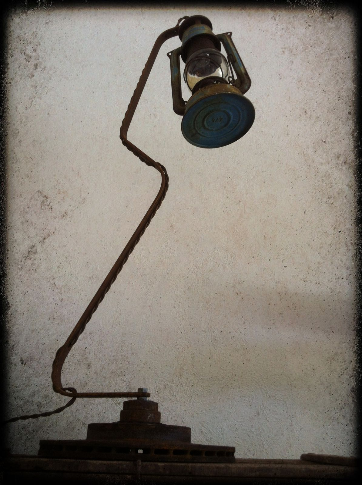 Lampe  &quot&#x3B;Blue Petrol&quot&#x3B; H 80cm (vendu)