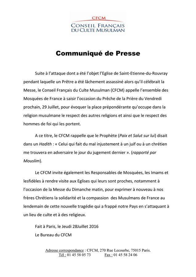 Communiqué du Conseil Français du Culte Musulman