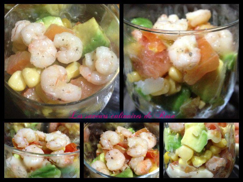 Verrines avocats-crevettes (salade avocats-crevettes)