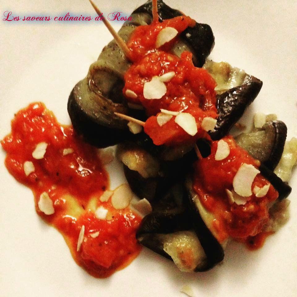 Paupiettes d'aubergine farcies à la mozzarella