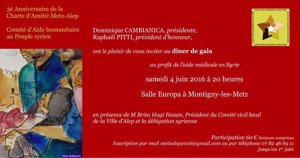 Réservation pour le dîner de gala du 4 juin 2016