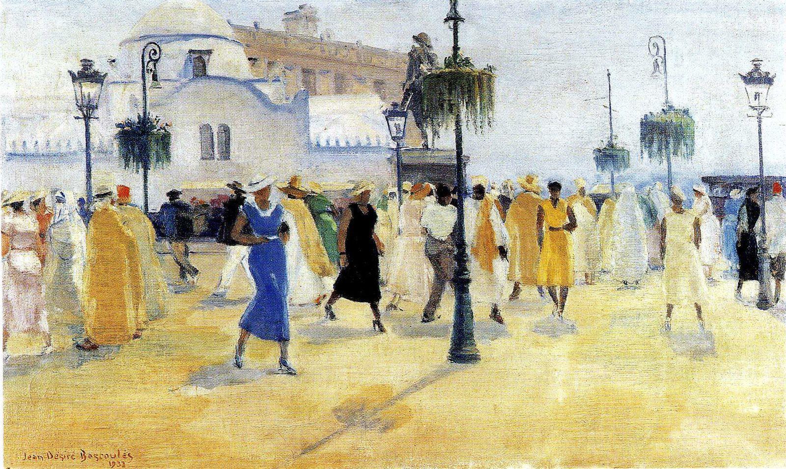 """Jean-Désiré Bascoulès : """"Les Elégantes, place du Gouvernement, Alger"""" 1933 huile sur toile / 49 x 80 cms"""