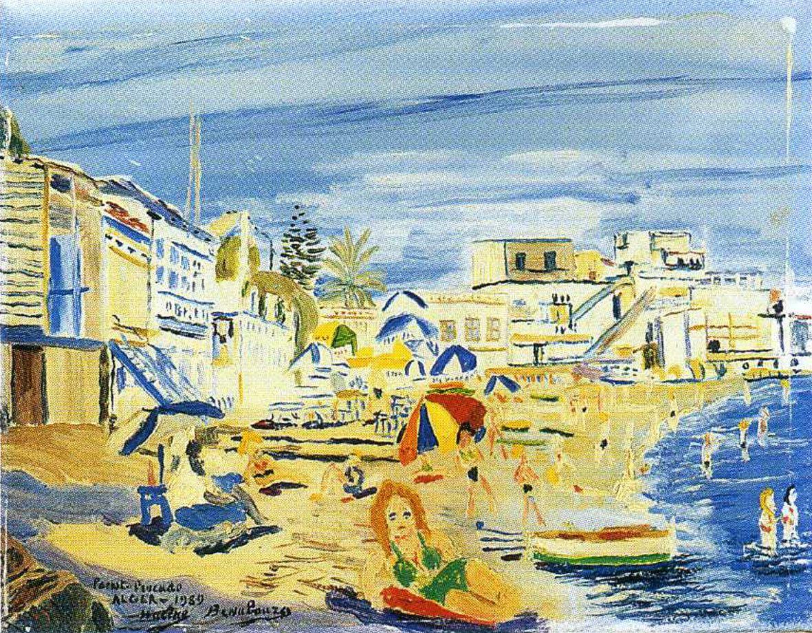 """Hacène Benaboura """"Pointe Pescade"""" Alger 1959 huile sur toile 32 X 41 cms"""