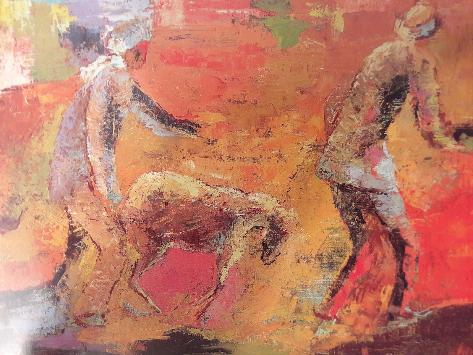 """Mohamed Bouzid """"Le Mouton rétif"""" Huile sur toile 37 x 45 cms"""