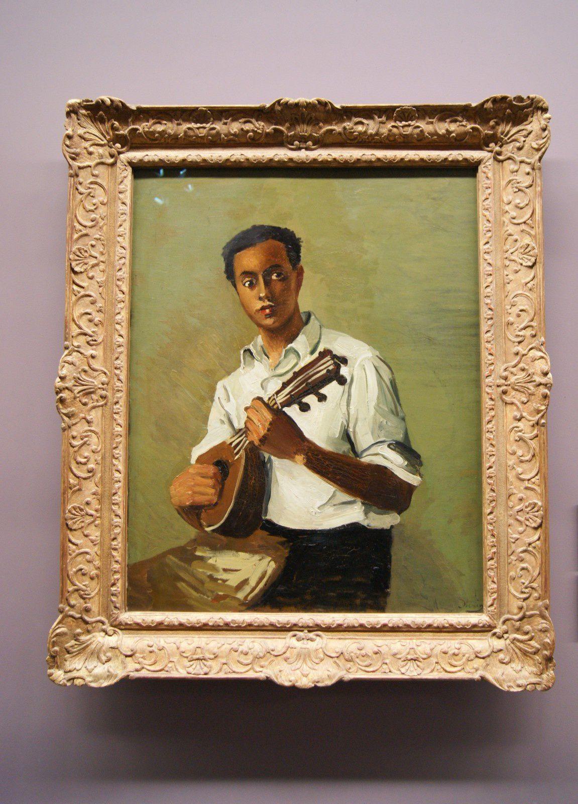 """André Derain """" le Noir à la mandoline  """" vers 1930 / Huile sur toile : 92 x 73 cm"""