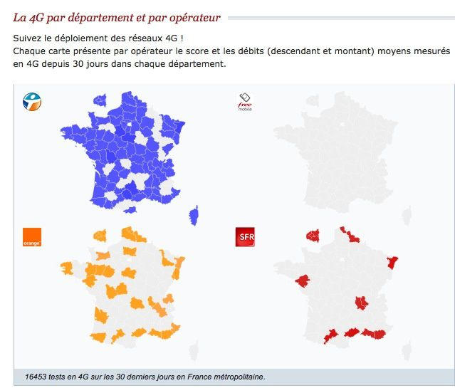 4G en France : la carte des débits réels