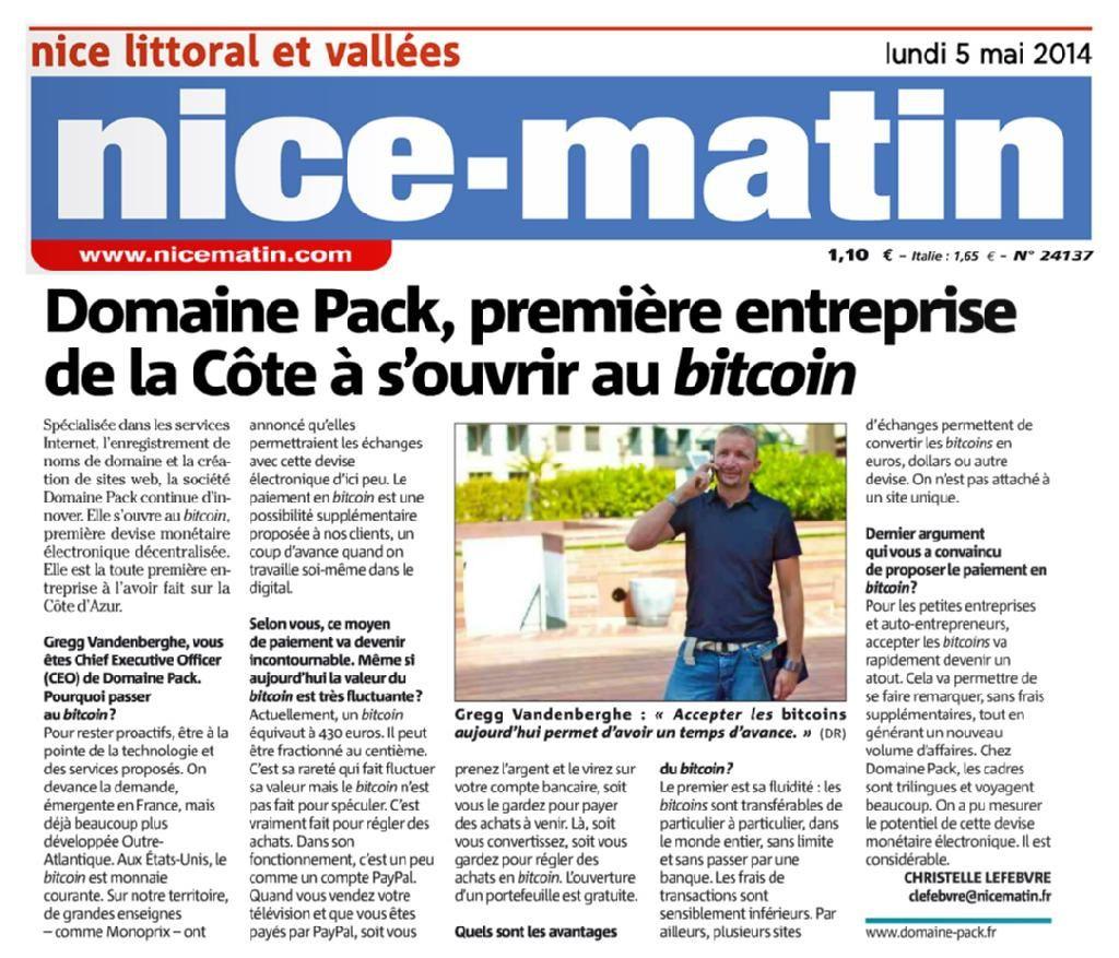L'article de Nice Matin, 5 mai 2014.