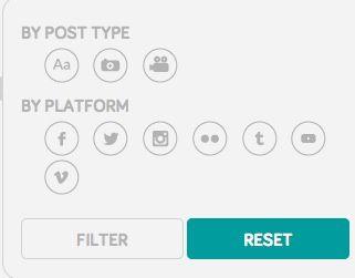 Une recherche sur 7 réseaux sociaux et selon 3 types de flux : texte, photo, vidéo.