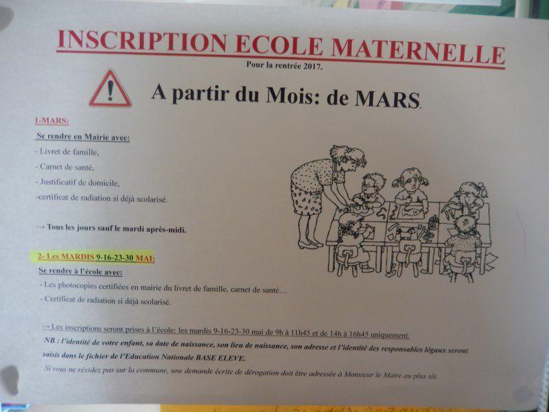 Inscription école maternelle