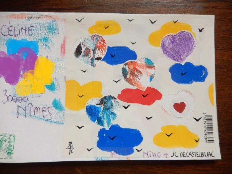 avec mes fonds .... les oeuvres de Nino, mon petit fils (5ans) pour sa maman