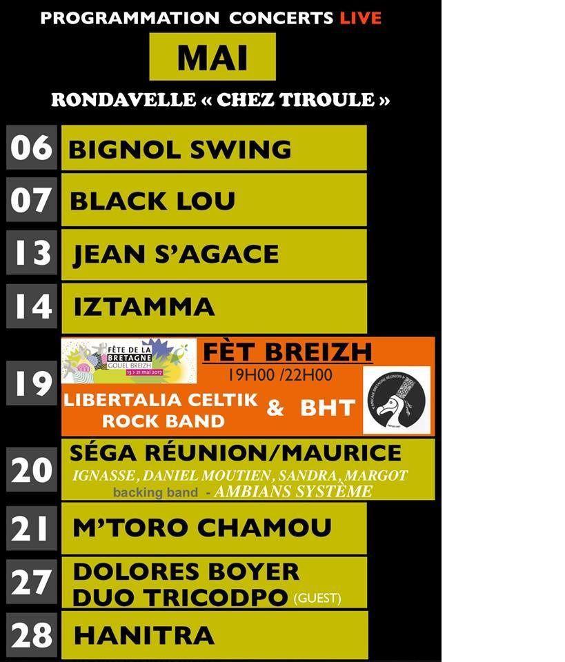Vendredi 19 Mai à partir de 20h à St Leu à la Rondavelle &quot&#x3B;chez Tiroule&quot&#x3B;, concert de Libertalia celtik Rock Band et BHT