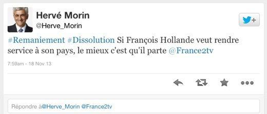 Quand Hervé Morin (UDI) fait son &quot&#x3B;Nadine Morano&quot&#x3B; sur Twitter…