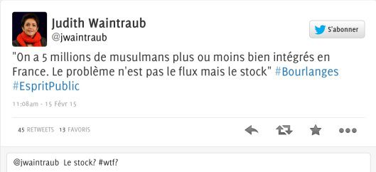 Quand une journaliste du Figaro parle de « stock » de musulmans…