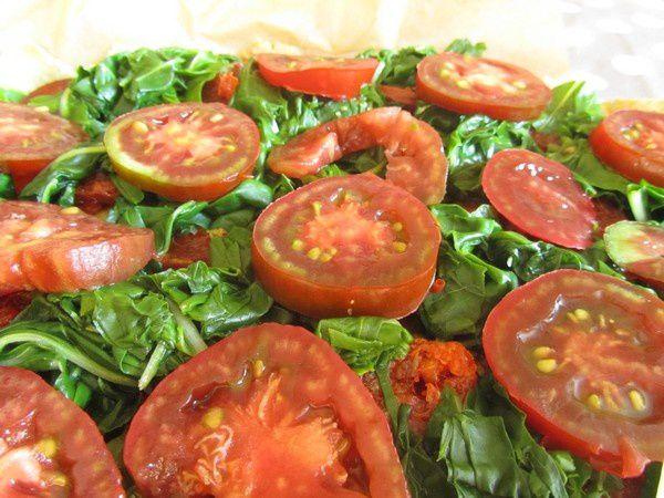 Tarte  sans gluten aux chorizo, bette et tomate