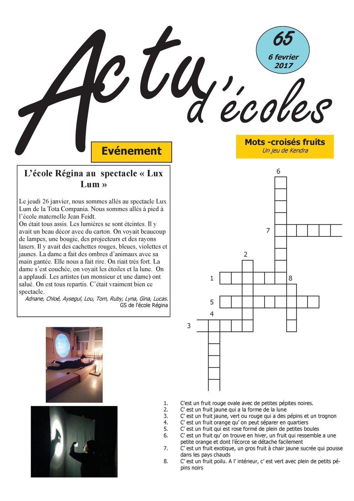 Journal Actu d'écoles n°65