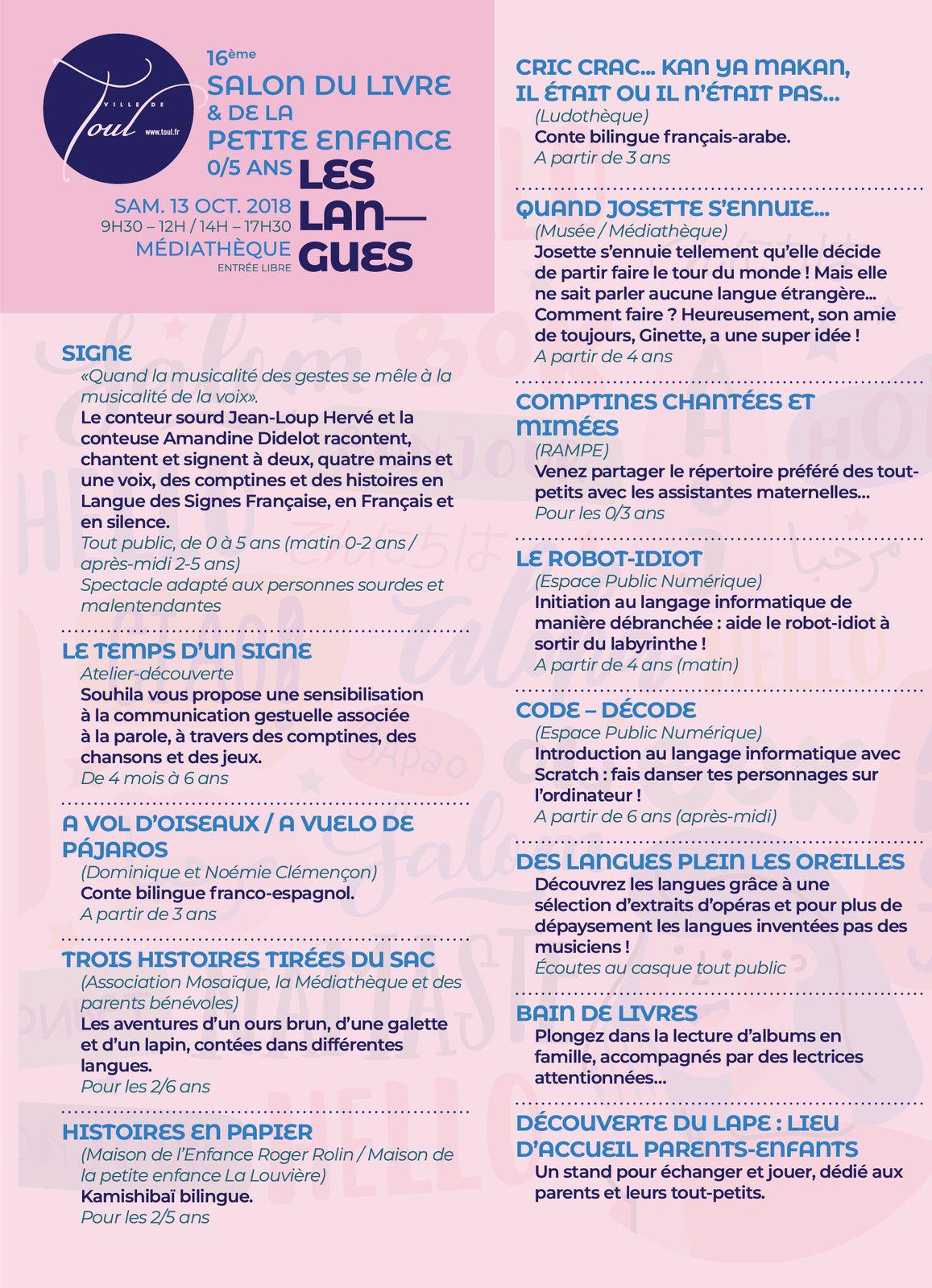 Salon Du Livre Et De La Petite Enfance 2018 Le Programme