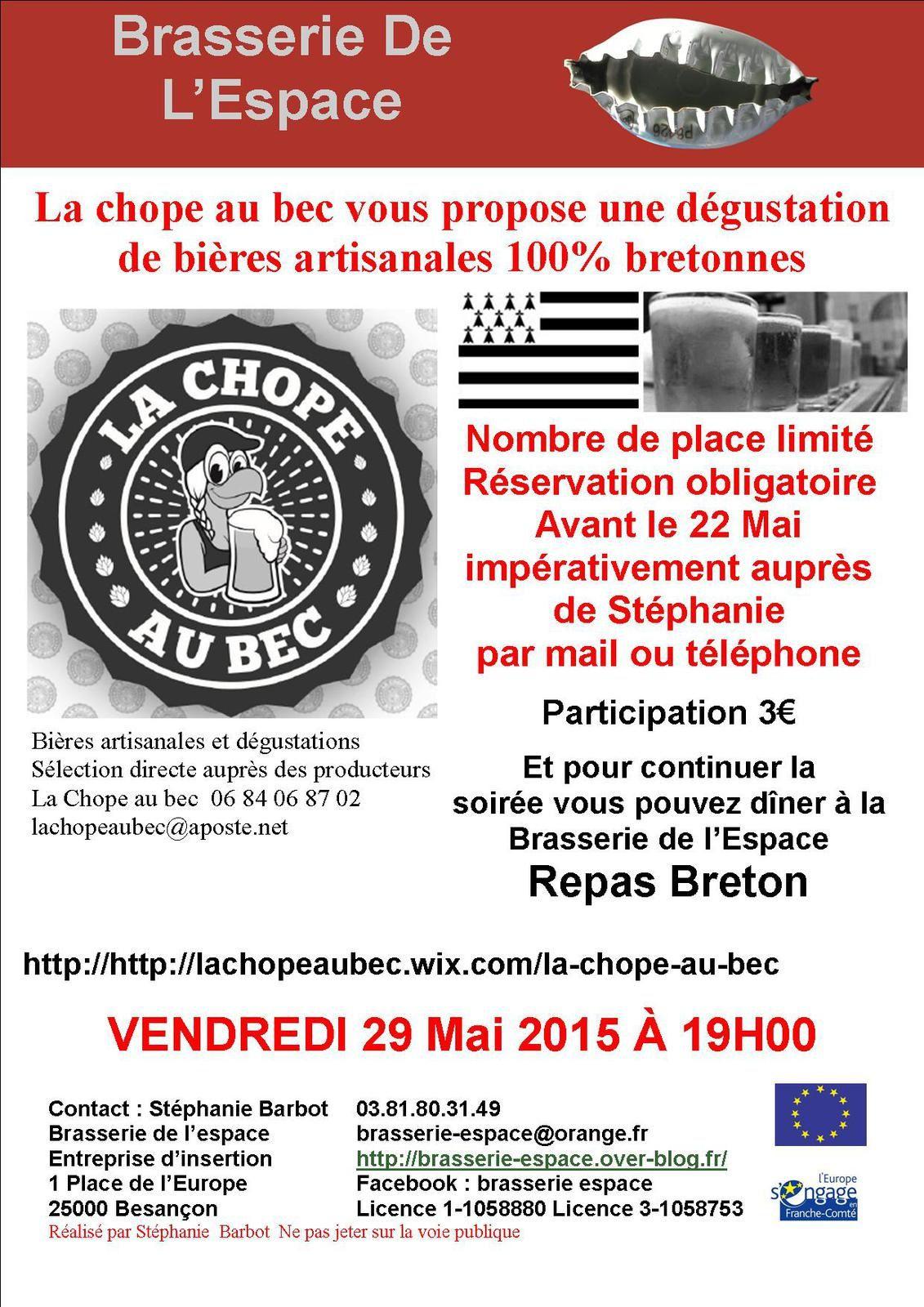 Dégustation  de bières artisanales 29 Mai 2015