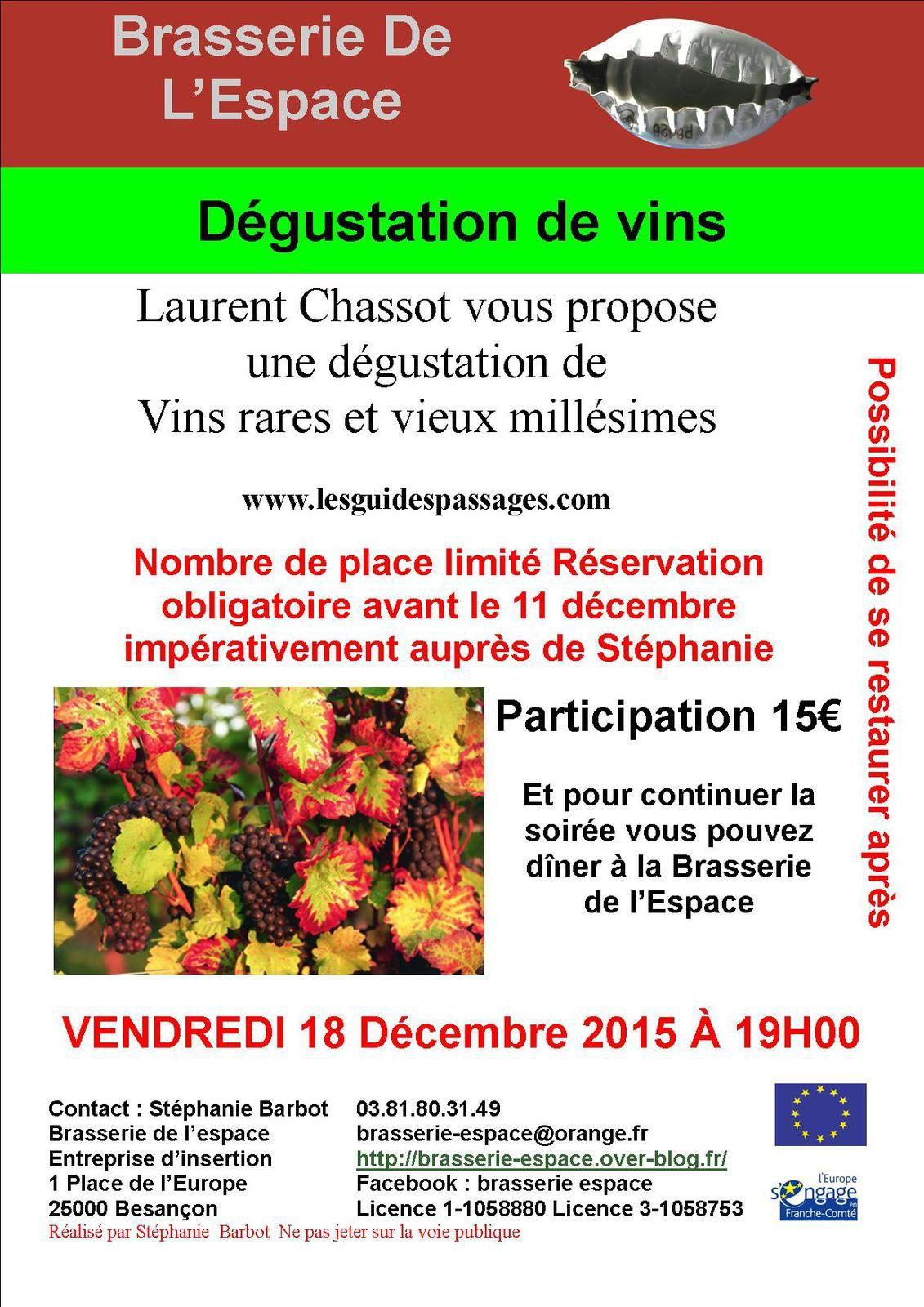 Dégustation de vins 18 décembre 2015