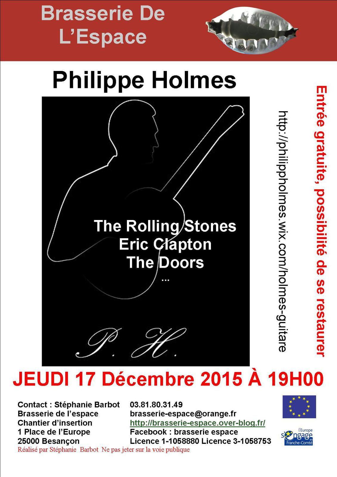 Philippe Holmes chante The Rolling Stones, The Doors... 17 décembre 2015
