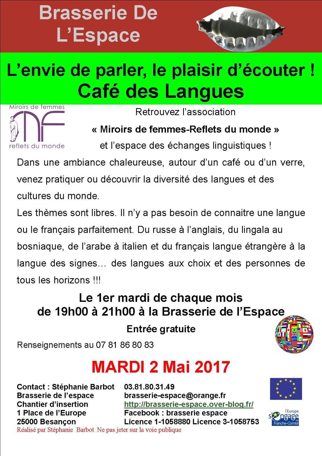 Café des langues de 19h00 à 21h00 mardi 2 mai 2017