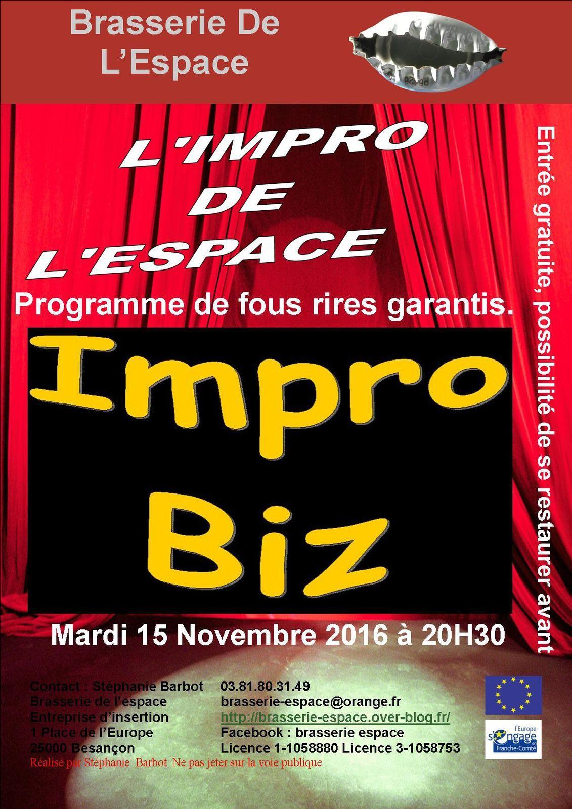 Théâtre d'Impro 20h30 mardi 15 novembre 2016