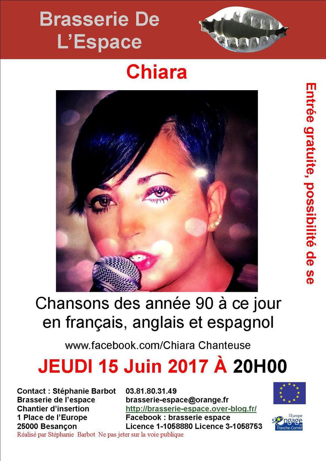 Chiara 20h00 jeudi 15 juin 2017