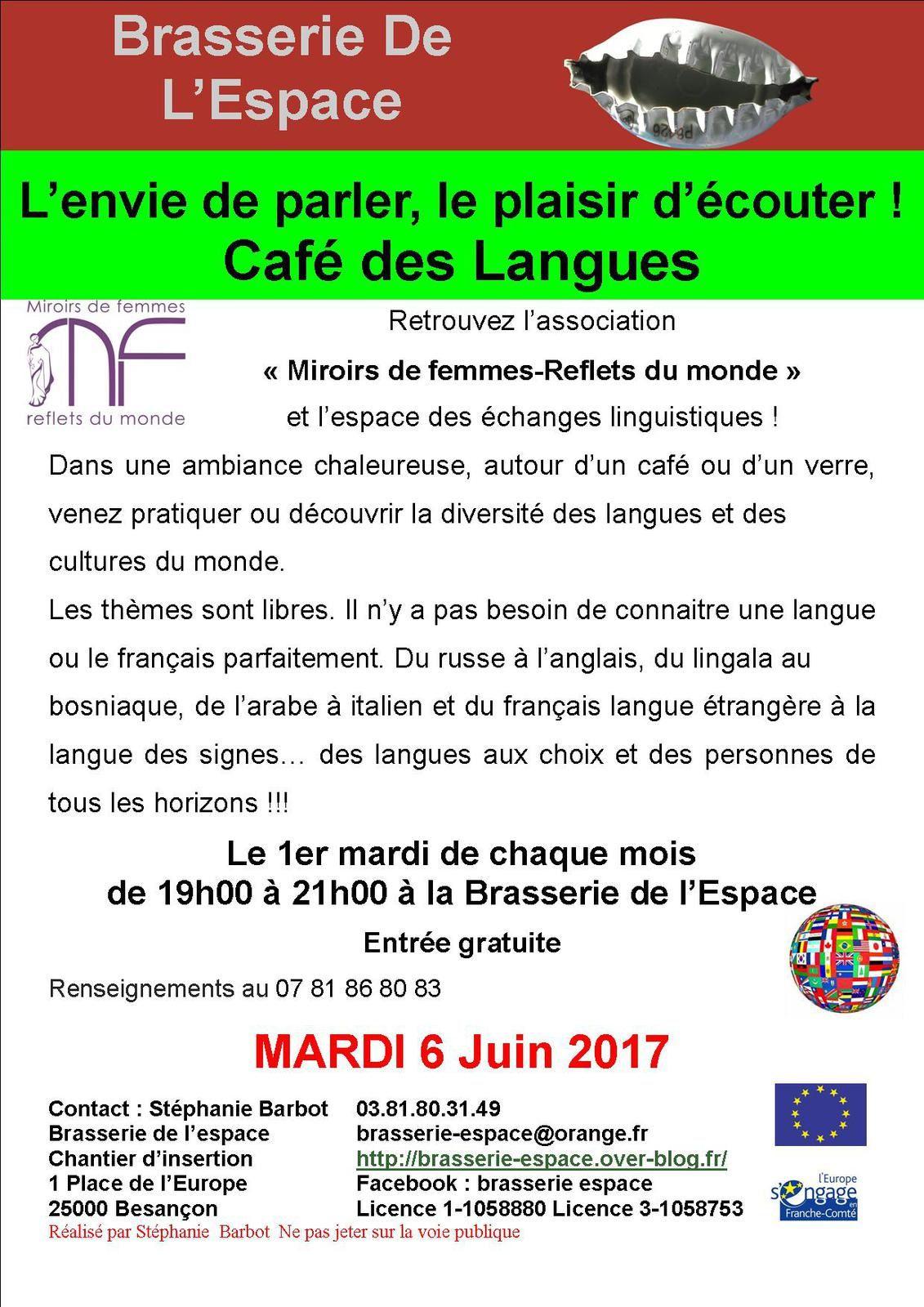 Café des langues de 19h00 à 21h00 mardi 6 juin 2017