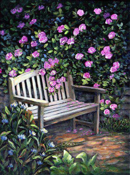 Un banc fleuri