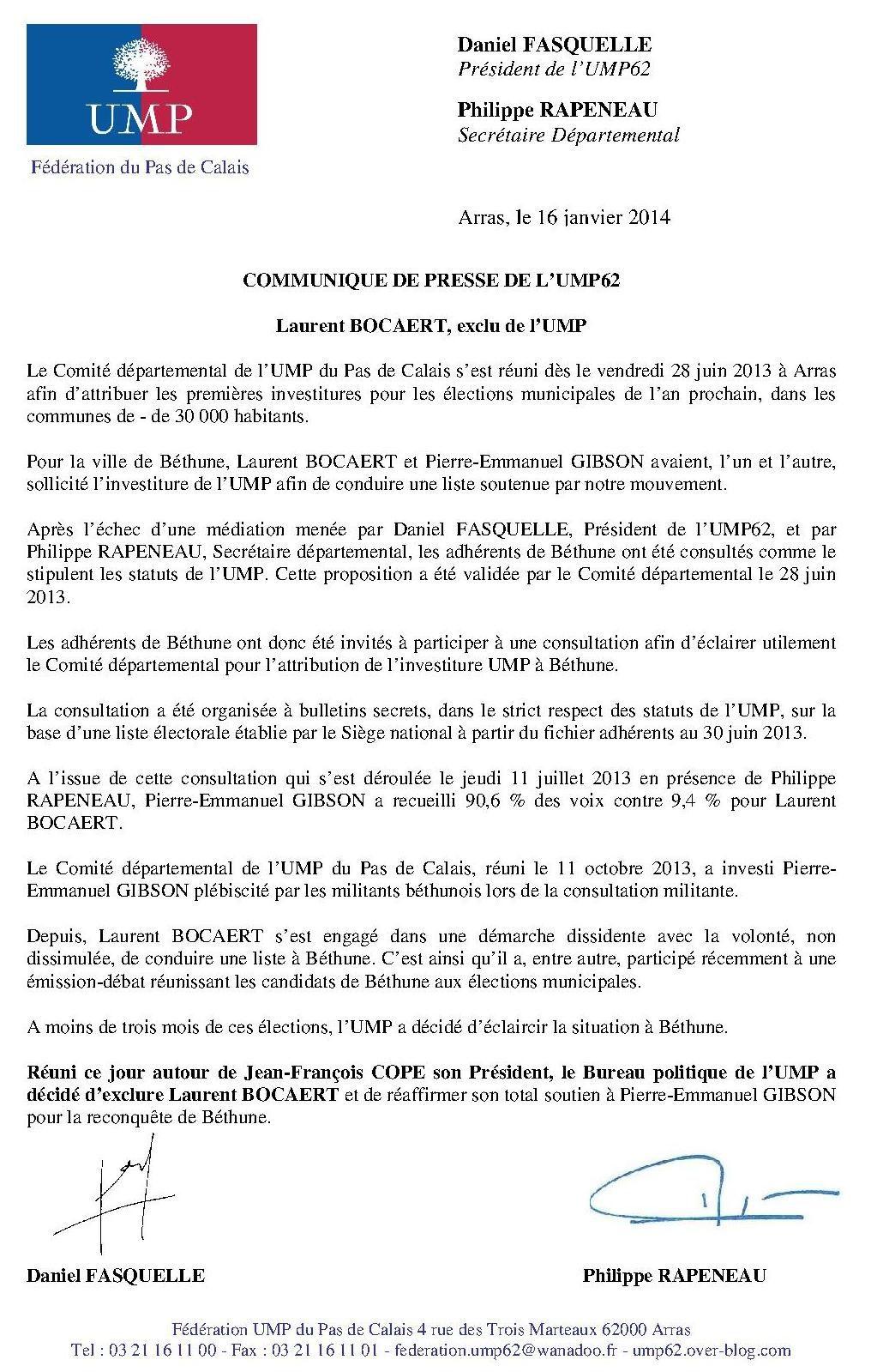 Le Bureau politique de l'UMP clarifie la situation à Béthune