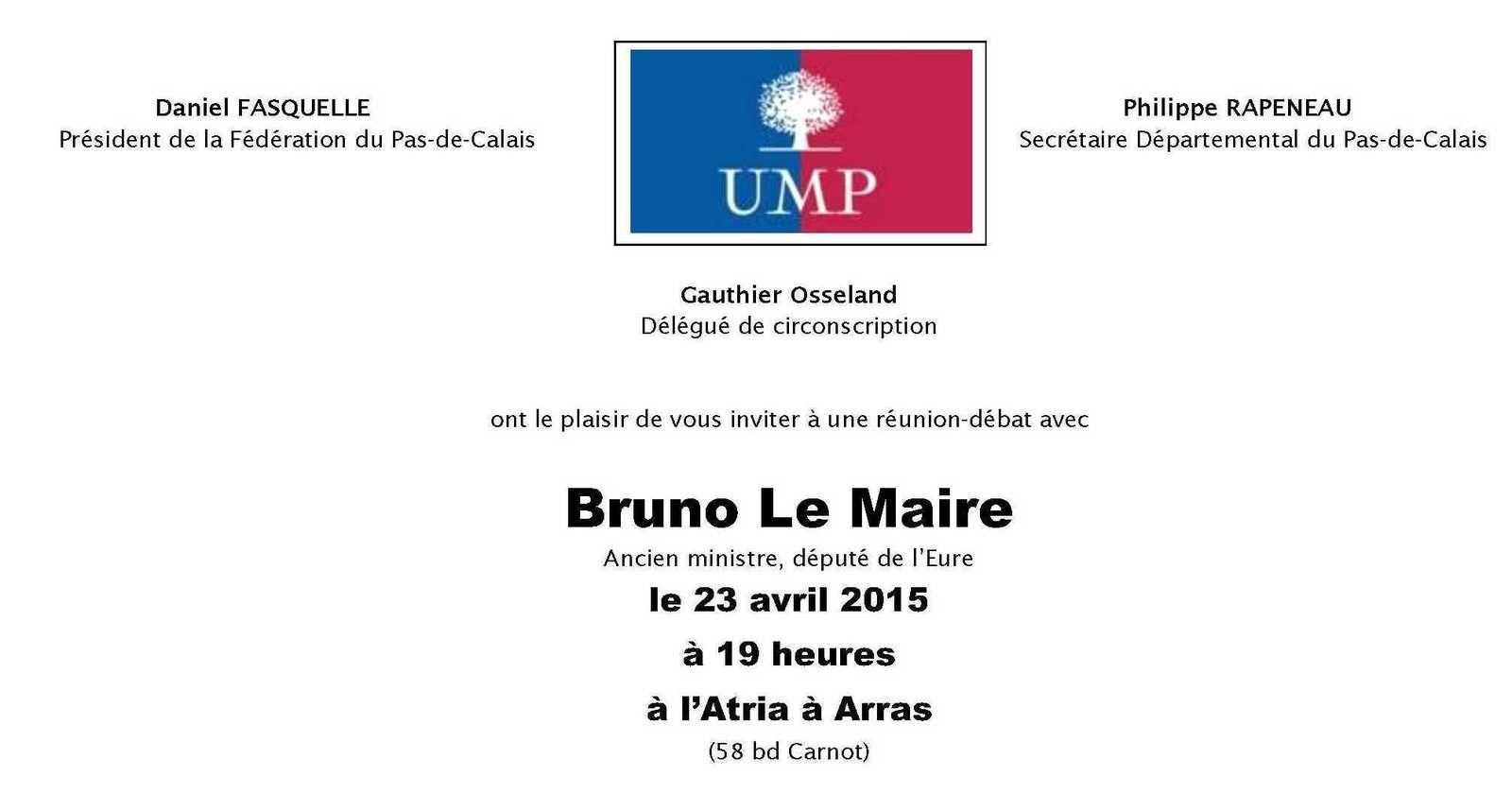 Réunion avec Bruno le Maire à Arras le 23 avril 2015