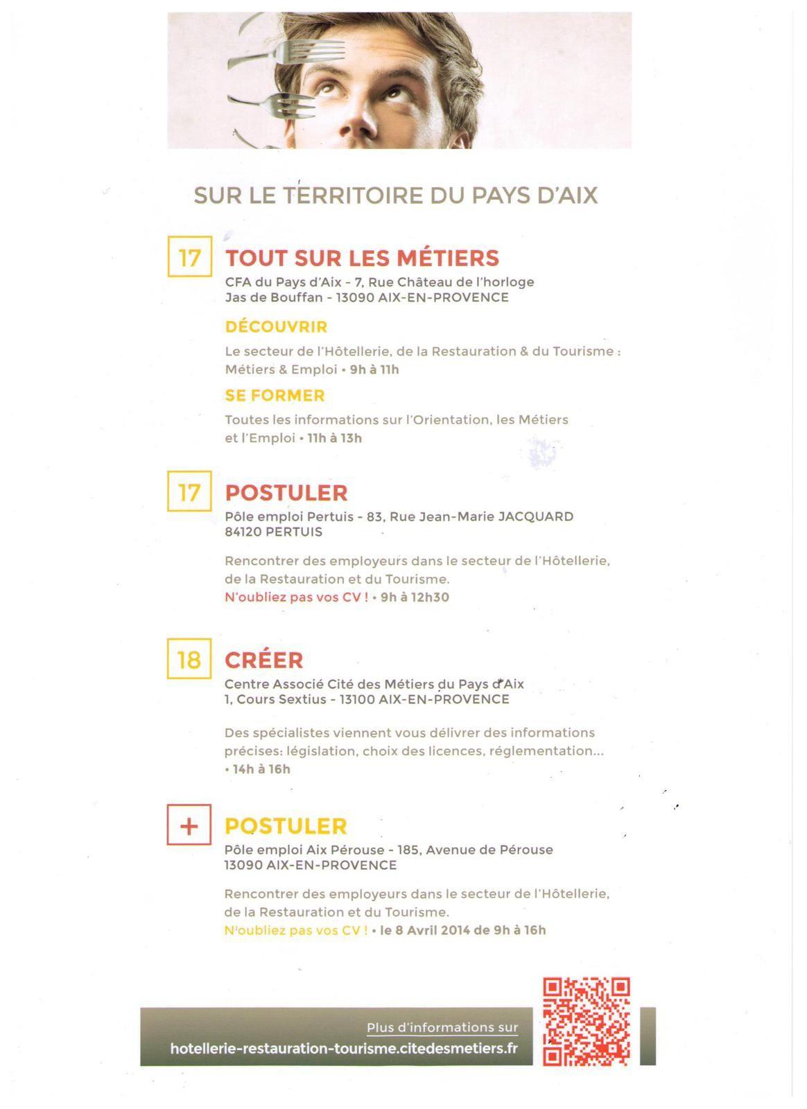 Semaine des métiers de l'Hôtellerie, Restauration &amp&#x3B; Tourisme: Pays d'Aix du 17 au 21/03/2014