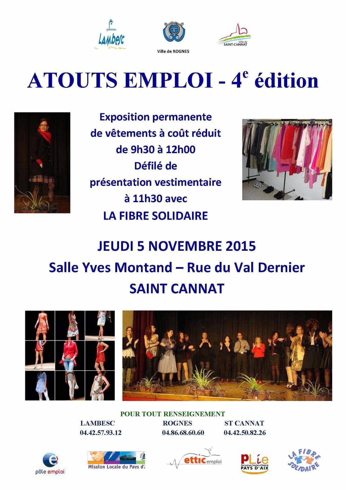 &quot&#x3B;Atouts Emploi&quot&#x3B;: Exposition et présentation de vêtements à coût réduit avec La Fibre Solidaire jeudi 05/11/2015