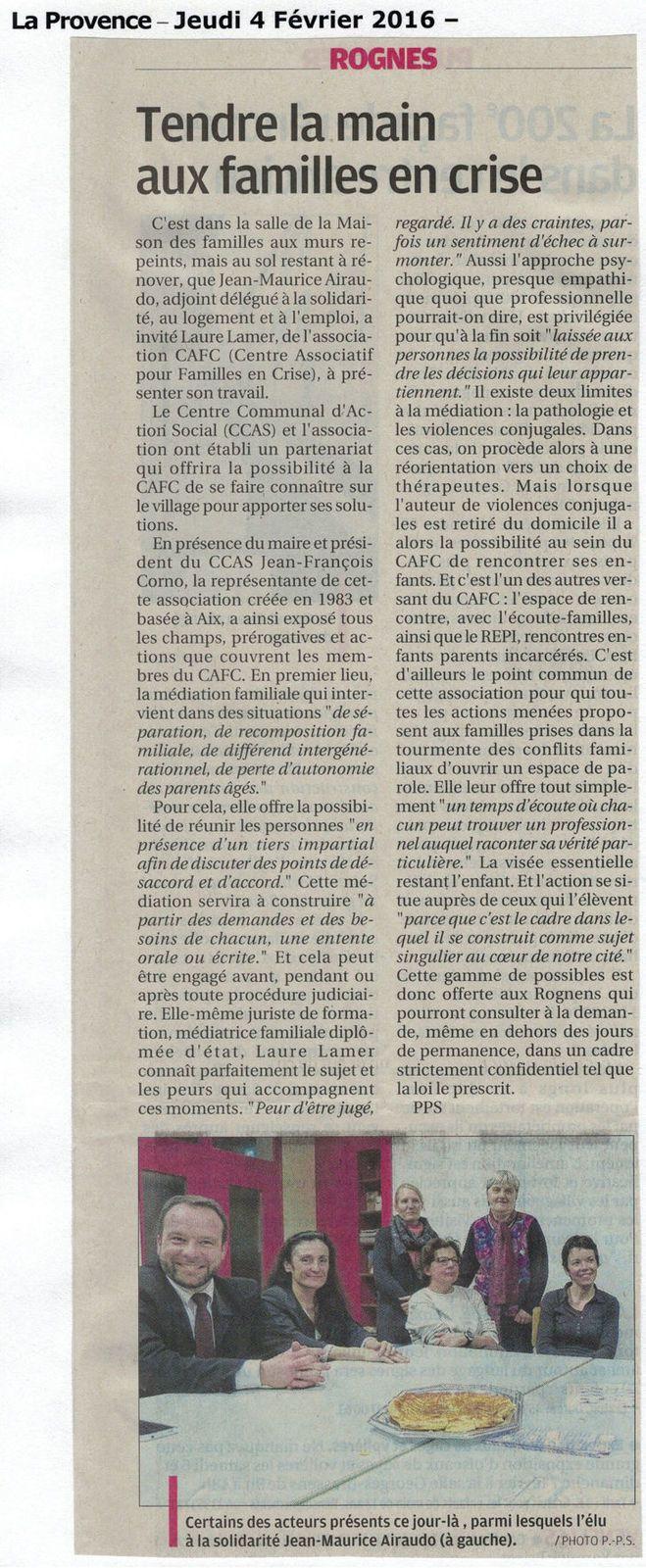 Médiation familiale: La Provence 4 février 2016