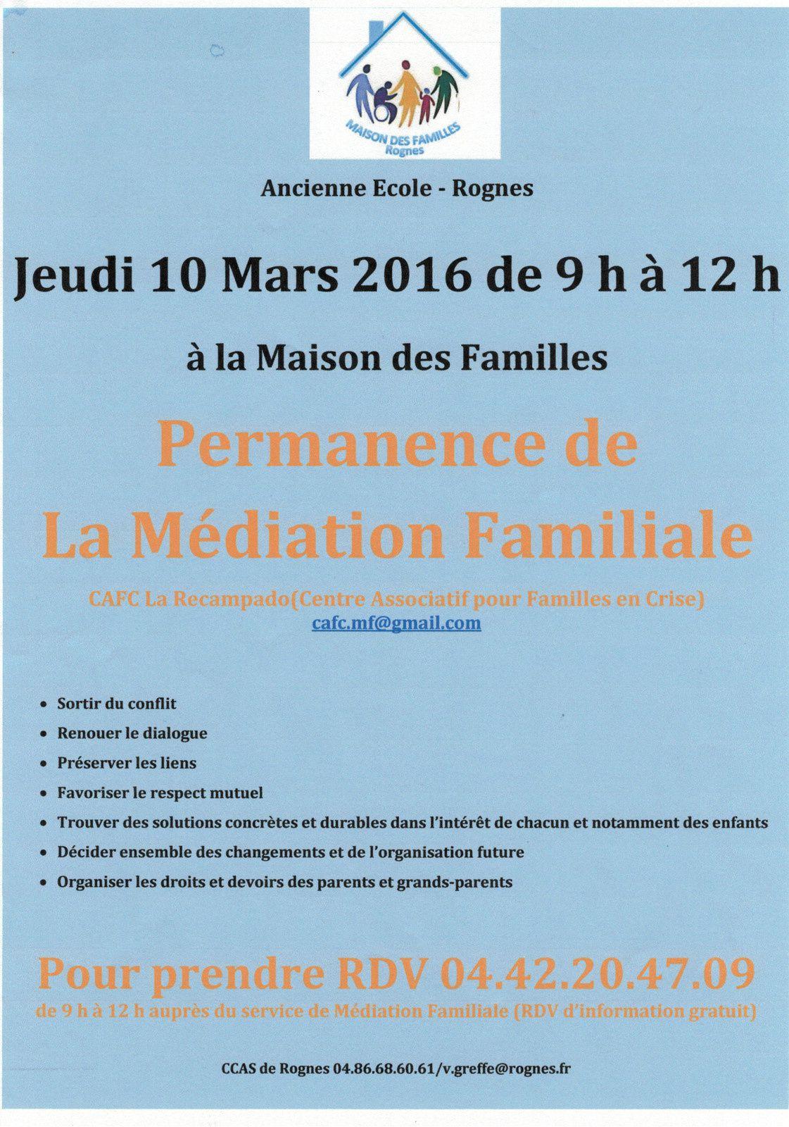 Permanence de la Médiation Familiale: Maison des Familles jeudi 10/03/2016