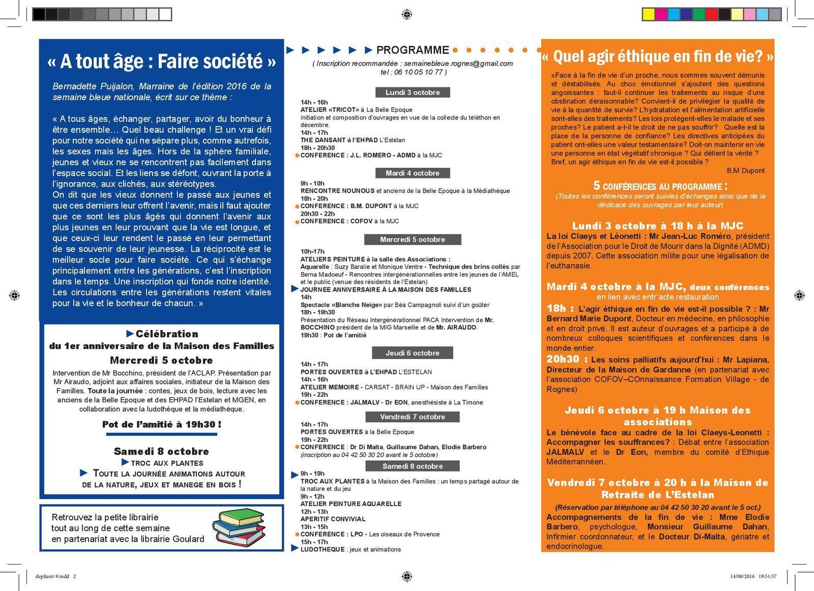 La Semaine Bleue à Rognes 2eme édition: