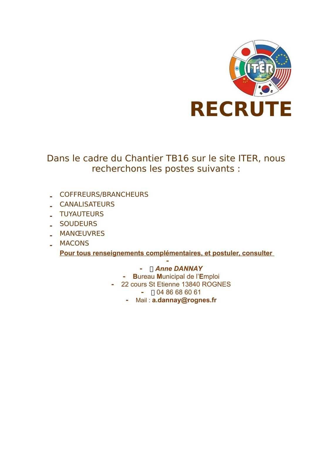 RECRUTEMENT A ITER