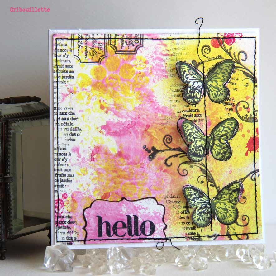 Carte Mixed-Media aux 3 papillons