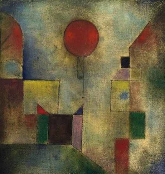 Carte &quot&#x3B;Ballon rouge&quot&#x3B; Inspiration Paul Klee