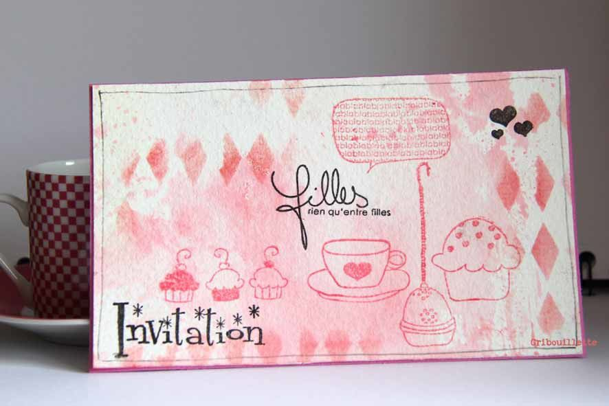 "Carte ""Invitation"" rose et gourmande"