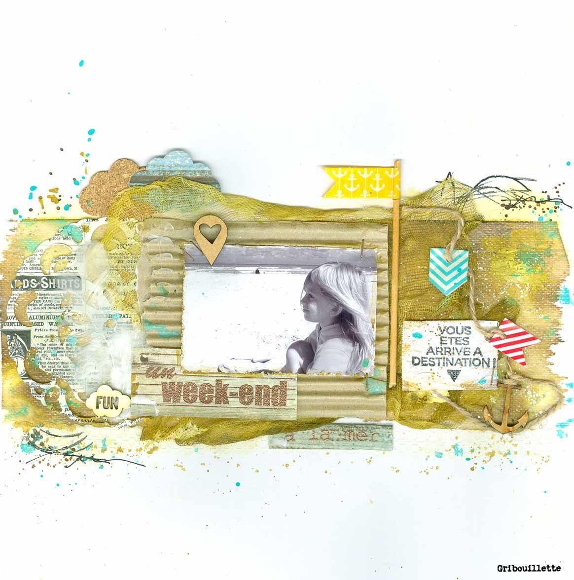 Week-end à la mer_Sketch sur Happy Friends_loto sur Made In Scrap