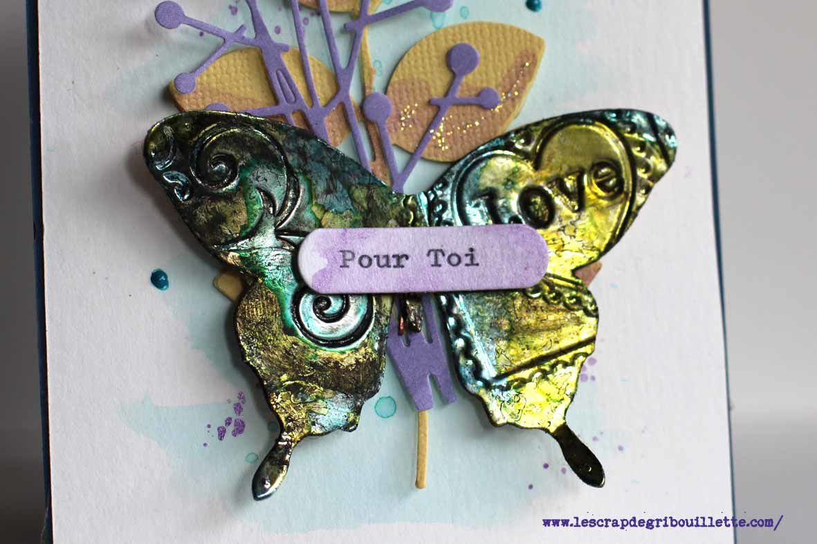 """Carte papillon """"effet métal"""""""