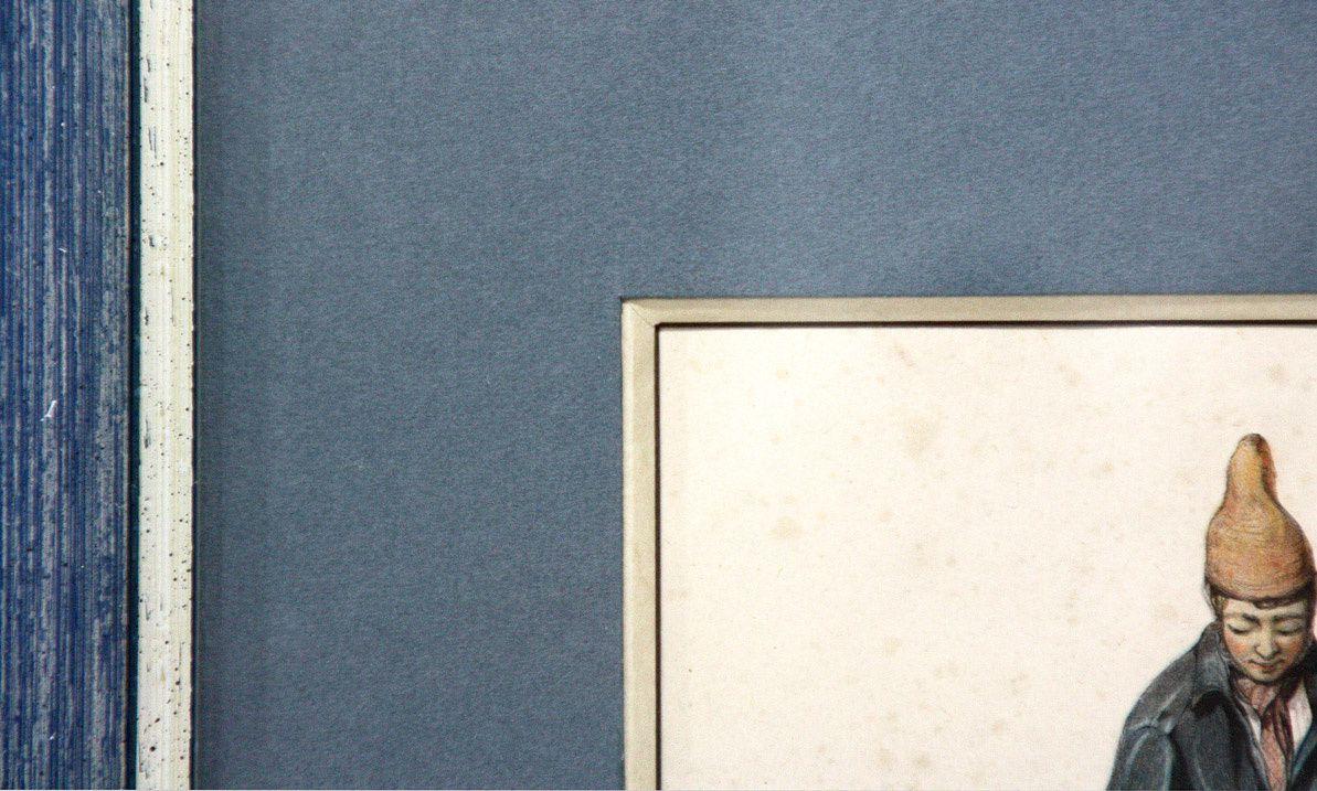 Passe partout gainé de papier bugra butten sur biseau anglais  souligné de filets.  Réalisé par Marie-Claude.