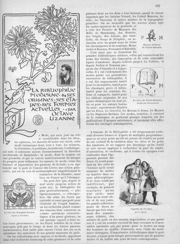 """Octave Uzanne """"La bibliophilie moderne, ses origines, ses étapes, ses formes actuelles"""" in La Revue encyclopédique n°133 (1896)"""